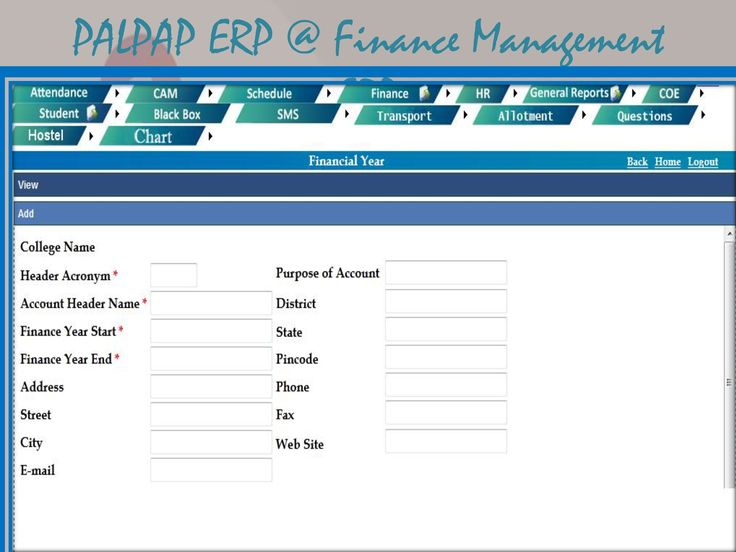 Palpap Finance management ERP contain following modules to keep PSV Engineering College campus at Transparency and Paperless environment .Through Palpap ERP for Finance Management module completely taking care of all financial activities of the PSV Engineering College Library activity, Hostel, Inventory , HR pay Roll system, Examination and Office Administration. Palpap ERP involved in Master Accounts, Ledgers and Groups.