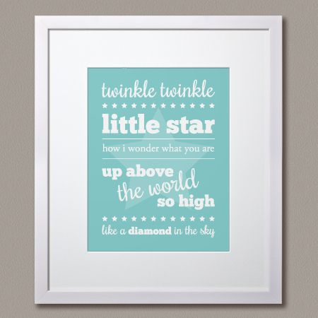 """Choose a colour! Choose a style! make it your own! """"Twinkle Twinkle Little Star"""" print by Simple Sugar Design"""