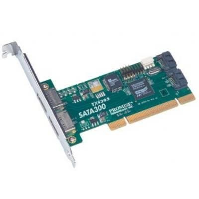 Promise SATA300 TX4302 PCI 2-port External And 2-port Internal SATA 3Gb/sController Card by PROMISE TECHNOLOGY. $82.22. Description:The Promise SATA300 TX4302 SATA PCI adapter offers the premier solution for connecting externally, the latest high-performance SATA 3Gb/s Serial ATA disk drives. With the SATA300 TX4302, users can connect up to four SATA devices offering users a cost-effective solution for upgrading their existing desktop or server systems and being ...