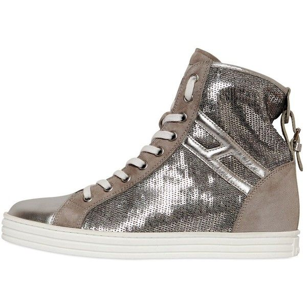 HOGAN REBEL 50mm Sequin & Suede Sneakers ($445) ❤ liked on Polyvore featuring shoes, sneakers, silver, hogan rebel, platform trainers, sequin shoes, suede sneakers and rubber sole shoes