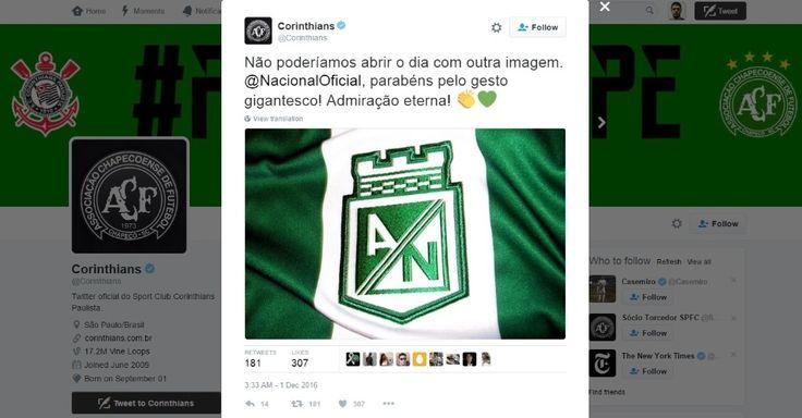 Corinthians usa coração verde para parabenizar At. Nacional por tributo