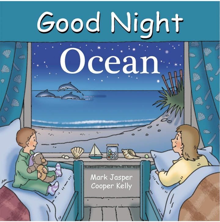 Good Night Ocean explores whales, fish, crabs, eels, octopus, penguins, walruses, swordfish, seals, and sharks, battleships and submarines, beaches, islands, reefs, harbors, bays, icebergs, the Coast Guard, fishing boats, and more