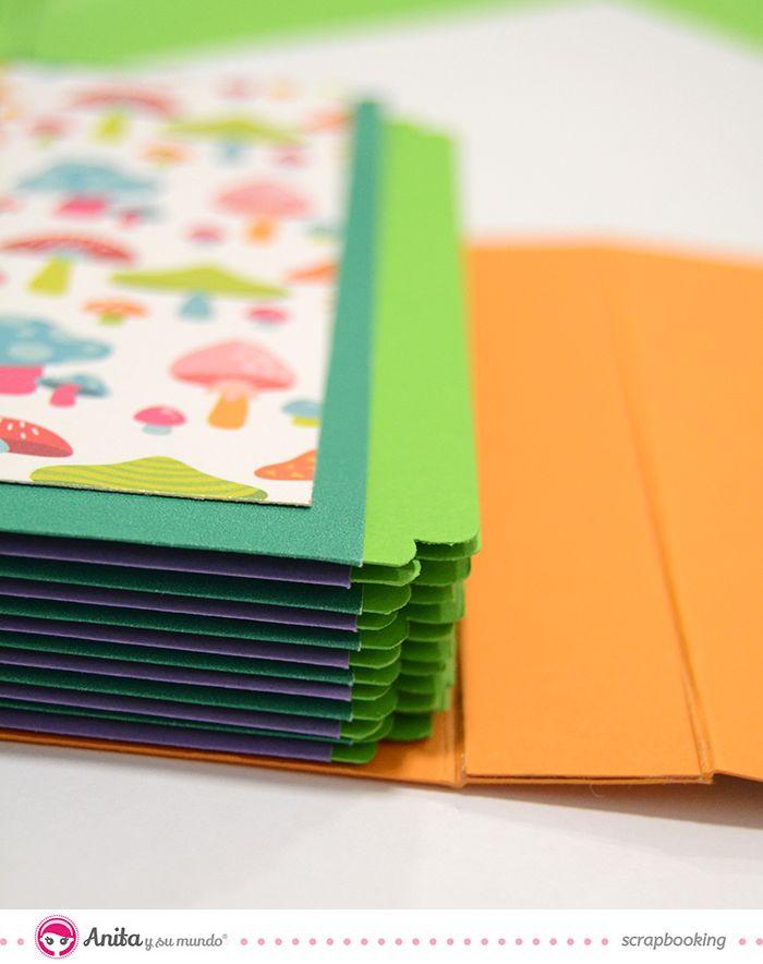 Mini álbum con estructura de sobres paso a paso  #scrapbooking #paper #papercraft