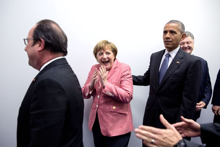 "July 9, 2016 ""German Chancellor Angela Merkel reacts when she thought they were somehow going to squeeze the entire press corps into a small hallway in Warsaw, Poland, to do a group photo with all of the European leaders. Instead, they were just being lined up in the order that they were supposed to walk into the room where the press was already prepositioned."" (Official White House Photo by Pete Souza)"