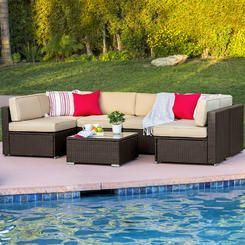 BestChoiceproducts Best Choice Products 7pc Outdoor Patio Garden Furniture Wicker Rattan Sofa Set Sectional Brown