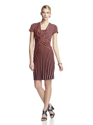 54% OFF Taylor Women's Cap Sleeve Striped Dress (Navy/Coral)