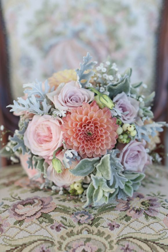 An idea of some pastel coloured flowers that are all available in march.  Could be individual bouquets of each colour.