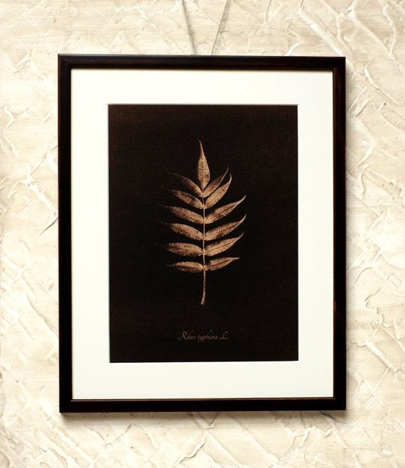 Wall Decor Brown Sumach Leaf  7x9'' Toned by RetroPhotographyArt