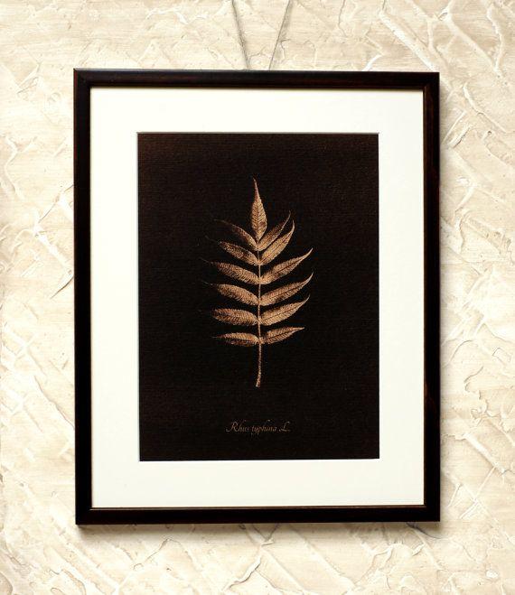 Wall Decor Brown Sumach Leaf  7x9'' Toned by RetroPhotographyArt