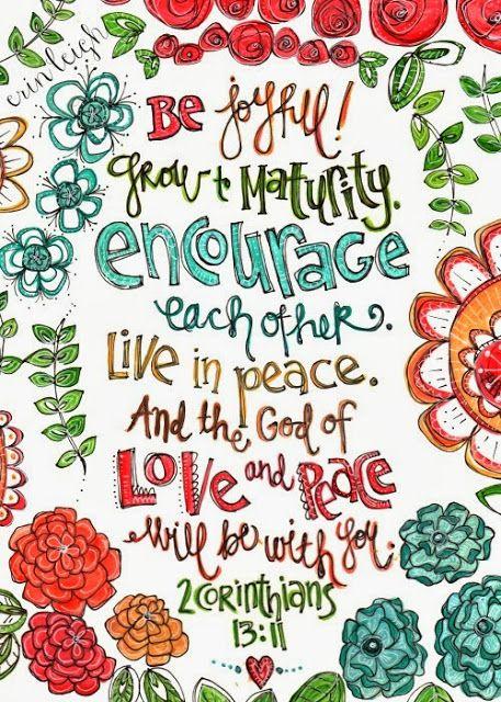 Art by Erin Leigh: Printable Scripture Art: 2 Corinthians 13:11 FREE