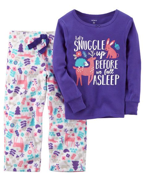12M|Baby Girl 2-Piece Cotton & Microfleece PJs from Carters.com. Shop clothing & accessories from a trusted name in kids, toddlers, and baby clothes.