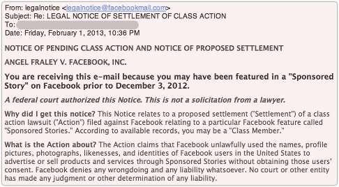 Facebook Class Action email – it looks like a phish but it's the real deal | Naked Security #Facebook