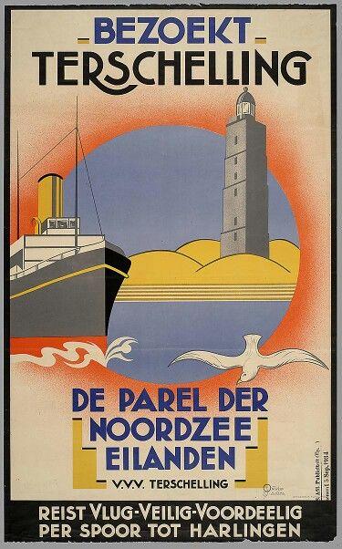Vintage poster Terschelling #parelvandenoordzee