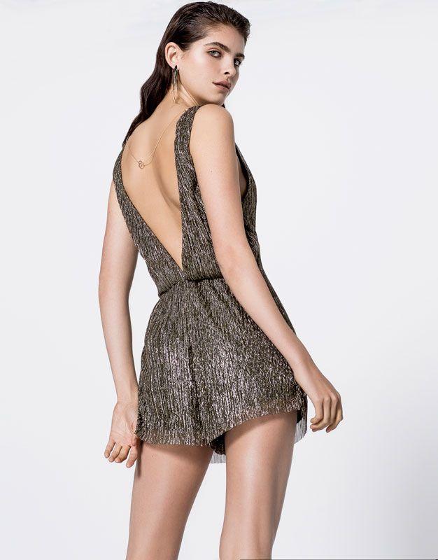 Short shiny jumpsuit dress - Dungarees & Jumpsuits - Clothing - Woman - PULL&BEAR Switzerland