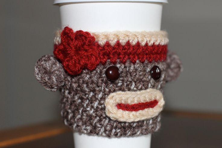 Crochet Sock Monkey Travel Mug/Cup Cozy. $10.00, via Etsy.