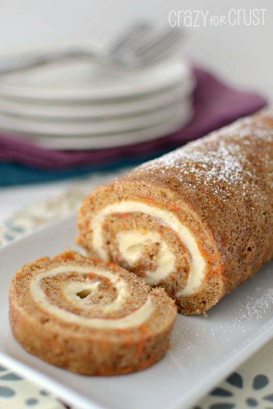 Carrot Cake Roll by www.crazyforcrust.com | An easy take on a favorite Easter dessert! #cake