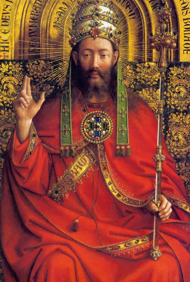 Jan van Eyck Ghent Altarpiece - God portrayed as a king