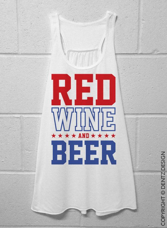 Red Wine and Beer Flowy Tank Top  White by DentzDenim on Etsy, $29.00