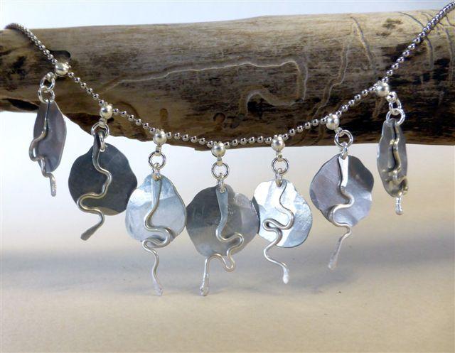 Necklace, aluminium, silver wire silver chain