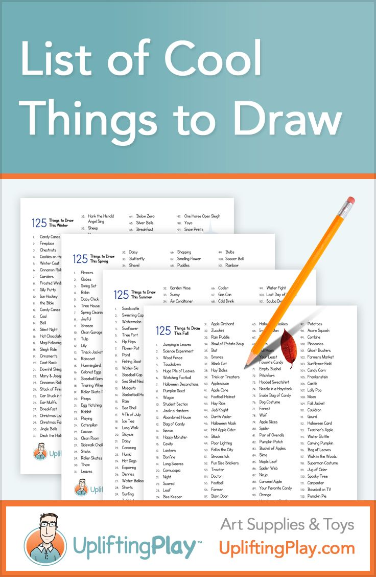 List of Cool Things to Draw for Kids - 125 Ideas of What to Draw  — Printable word lists of things to draw for Winter, Spring, Fall, Summer...