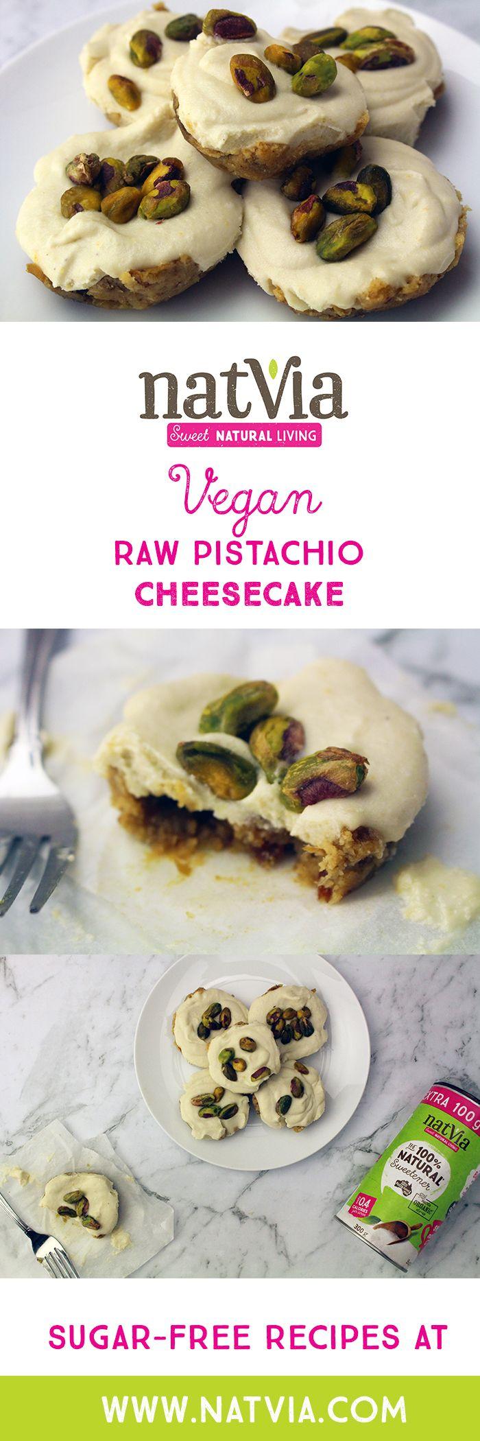 Whip up these #sugarfree Mini #Vegan #Pistachio #Cheesecakes.  - #Natvia #Healthy #recipe