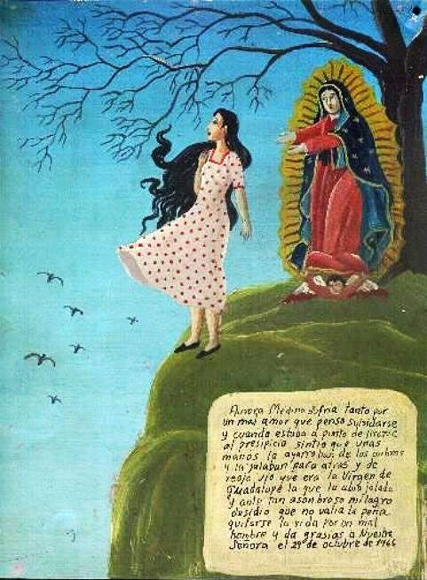 Аврора Медина сильно страдала от несчастной любви и решила покончить с собой. Когда она собиралась броситься с обрыва, то вдруг почувствовала, как её схватили чьи-то руки и потянули к себе. Аврора увидела, что это сама Дева Гваделупская удержала её. После такого чудесного спасения, девушка поняла, что не стоит кончать жизнь из-за какого-то подлеца.  Она благодарит Пресвятую Деву.    21 октября 1966.
