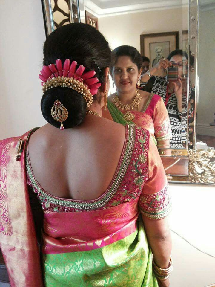 What a beautiful large low bun with gajra & juda pin! Care however should be taken be…   Indian ...