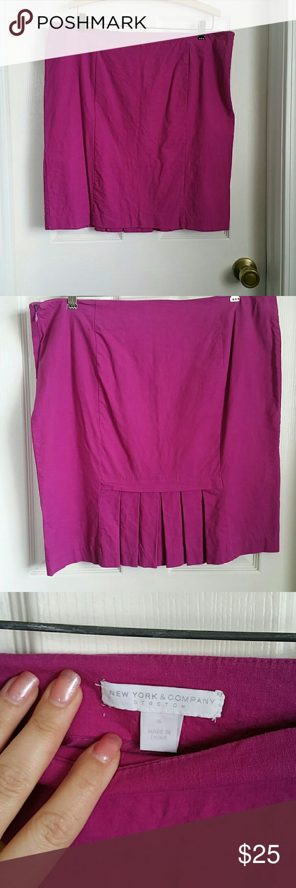 Purple Stretch Linen Skirt Cute skirt with pleating detail on back.  Picture looks magenta, but it more purple than that New York & Company Skirts