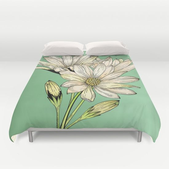 Daisy Flowers - Wild Flowers - Nature Duvet Cover by Salome | Society6