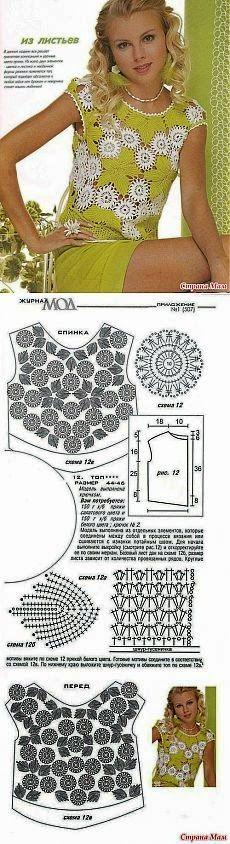 Crochet y dos agujas: Fina blusa con apliques de flores y hojas - con patrones