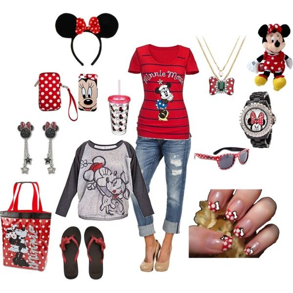 minnie mouse outfit by lwilkinson on Polyvore featuring Disney, True Religion, Hollister Co., Swarovski and Disney Couture