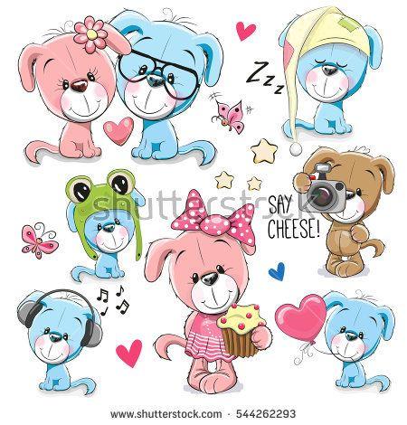 Set of <b>Cute Cartoon dogs</b> on a <b>white</b> background   Смайлики ...