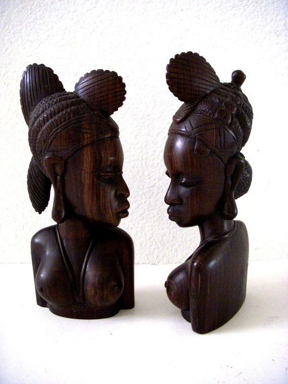Exquisite African Ebony Statues Pair Of Vintage African