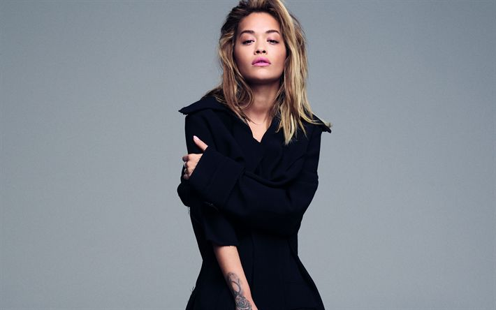 Download wallpapers Rita Ora, photoshoot, black coat, 4k, British singer, beautiful woman, British stars