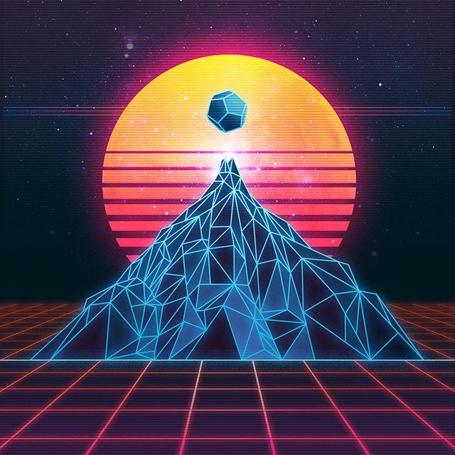 Montaña y sol, digital