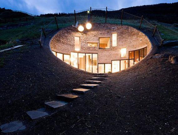 Designed by the architects of SeArch and Christian Müller, this home in Vals, Switzerland is hidden on all sides save for one. By building the house underground, the architects were able to almost completely eliminate the need for heating or cooling in the winter and summer months.