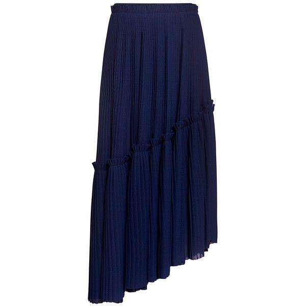 Kenzo asymmetric ruffle pleated midi skirt (25.035 RUB) via Polyvore featuring skirts, asymmetrical ruffle skirt, frilly skirt, calf length skirts, ruffle midi skirt и blue midi skirts