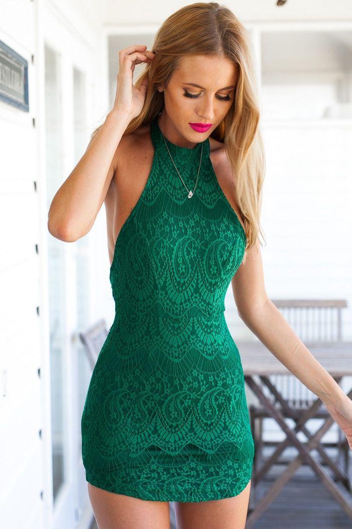 Halter Neck Lace Backless Dress