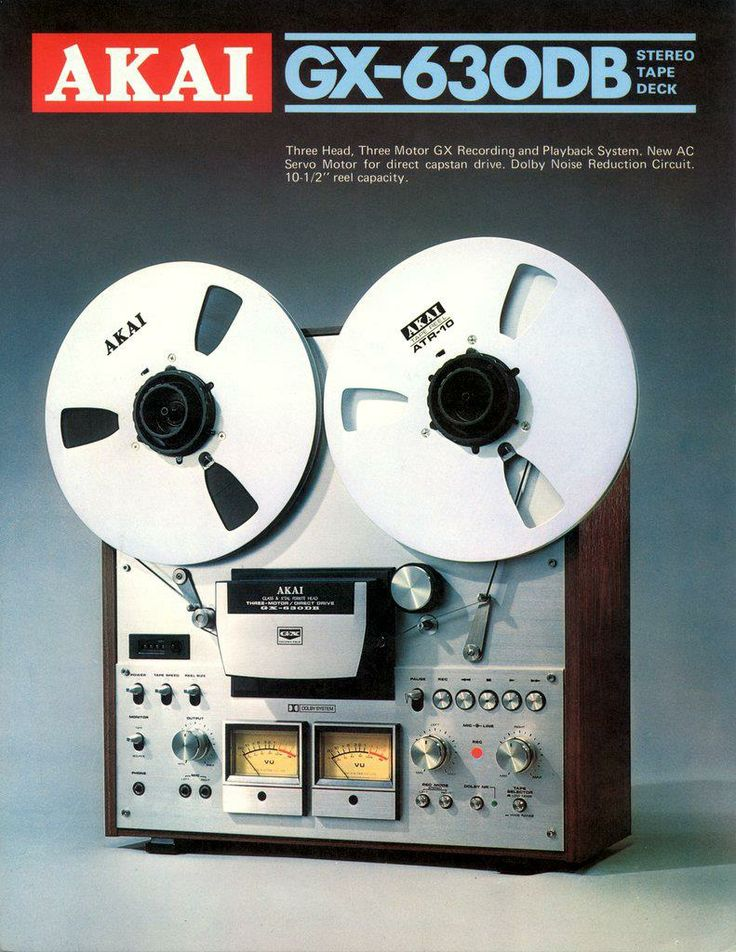AKAI GX630DB Stereo Tape Deck | 1976-77 | 4-track, 2 channel, stereo/monaural Heads: 1 GX record, 1 GX playback, 1 erase | Motor: 2 reel drive, 1 capstan Reel | max 10.5 inch reel | Wow and flutter: 0.06% (7 1⁄2 ips) Frequency response: 30Hz to 25kHz (7 1⁄2 ips) Signal to Noise Ratio: 57dB Total harmonic distortion: 0.5% Input: 70mV (line), 2.5mV (DIN), 0.25mV (mic) Output: 0.775V (line), 0.5V (DIN) Semiconductors: 64 x transistors, 69 X diodes, 2 X FET Dimensions: 465x440x240mm Weight…