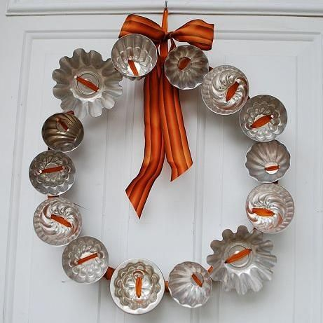 Fall Wreath made from Vintage Jell-O Molds