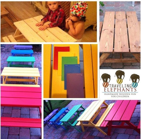 Toddler Picnic Table, Indoor or Outdoor, Kids Picnic Table, Bright & Colorful Toddler Picnic Tables- You pick the color!