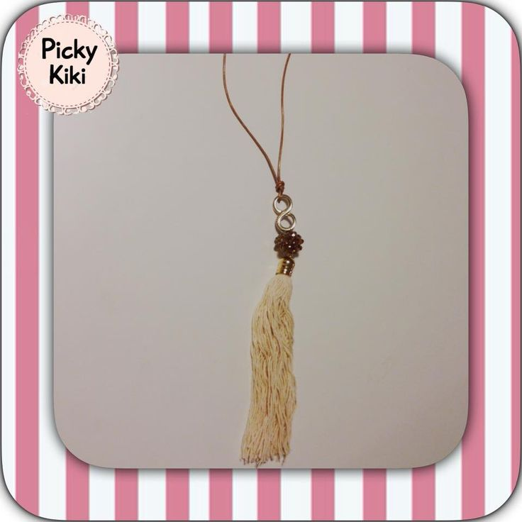 """Long pendant with bronze leather cord, bead Czech bronze crystals, gold element with the shape of the """"infinite"""" and away badges in ecru color 