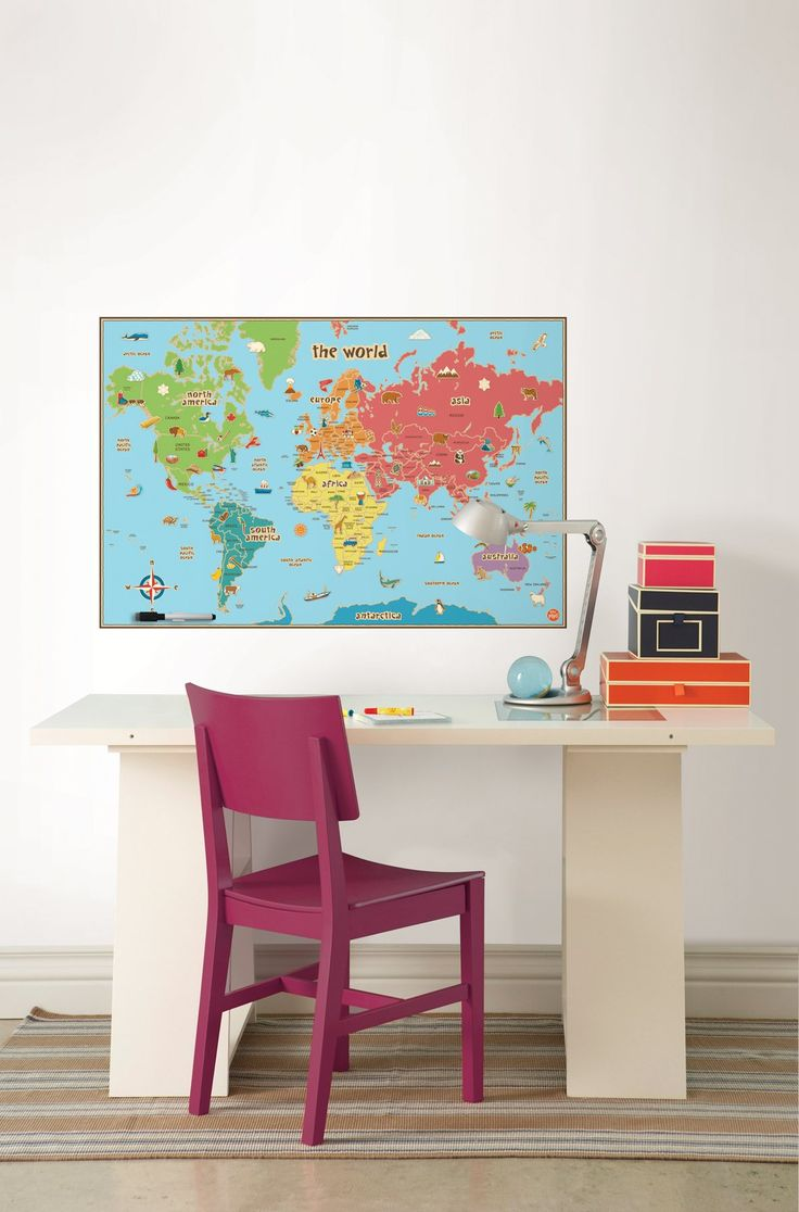 Amazon Com Wall Pops Wpe0624 Kids World Dry Erase Map Decal Wall