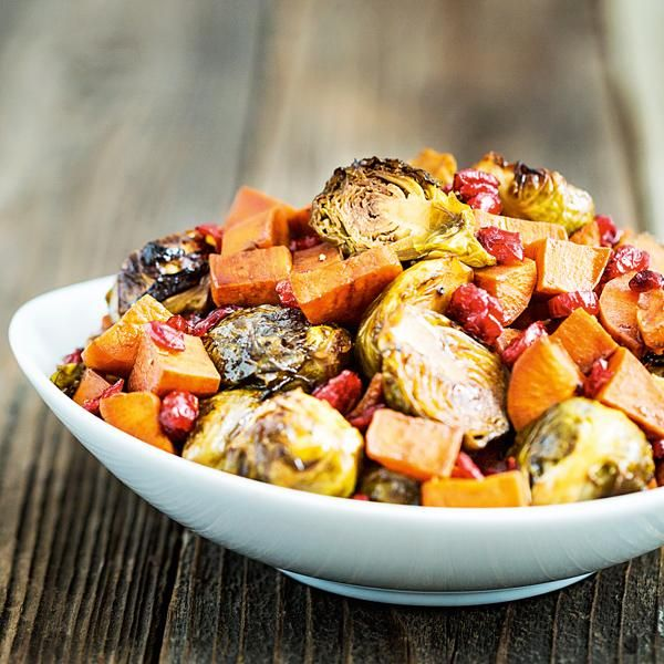 9 Vegan Recipes Even Meat Eaters Will Love: Balsamic-Maple Brussels Sprouts & Sweet Potato http://www.prevention.com/food/healthy-recipes/vegan-recipes-taste-meat?s=4&cid=NL_ROTD_2007774_02052015_RoastedBroccoliAppleSaladYouWantIt