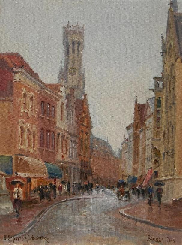 """""""Rain in Brugge"""" 16"""" x 12"""" O/C Available"""