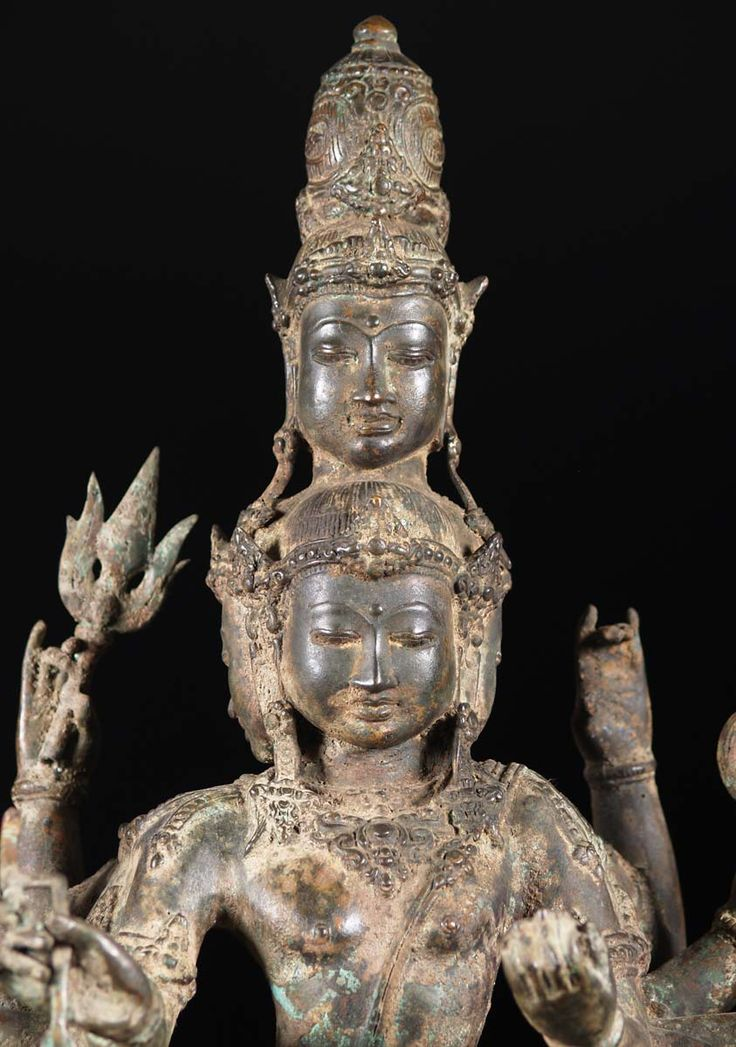"""SOLD Brass Dancing 5 Faced Shiva Statue 27"""""""