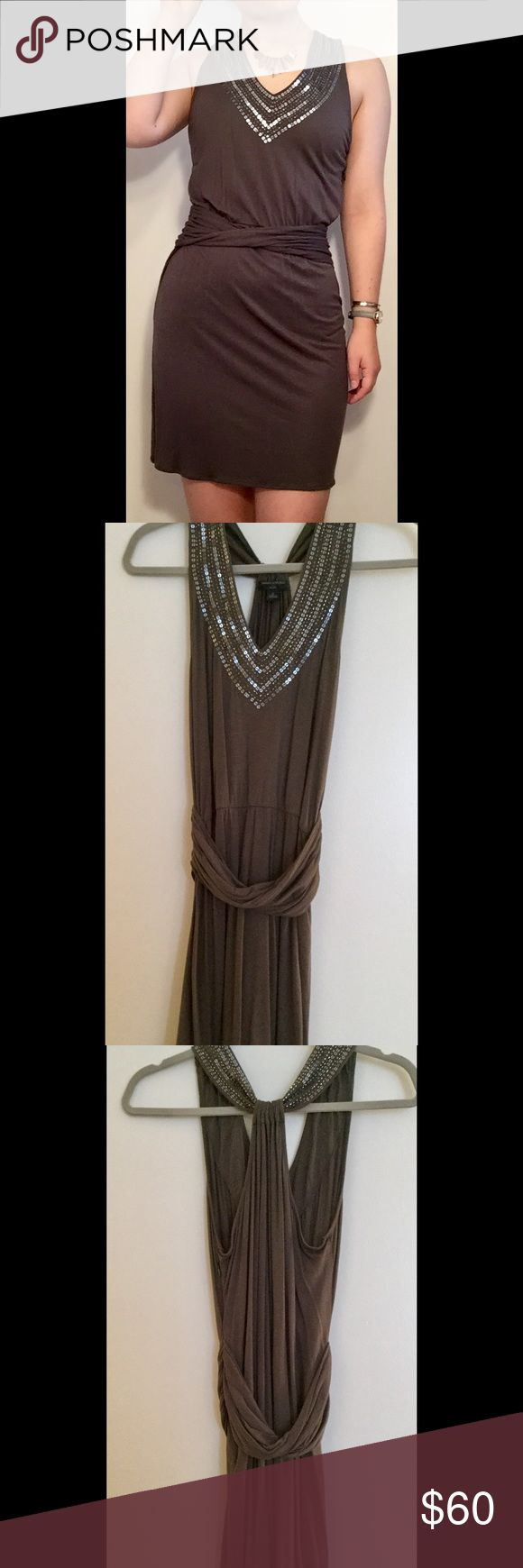 """Banana Republic gray and sequin dress. Gray dress with sequined neckline and twisted band around the waist. Size petite 2 (model is 5'2"""" and normally wears a 0/2). 70% rayon, 30% lyocell. No defects and light wear. Banana Republic Dresses Mini"""