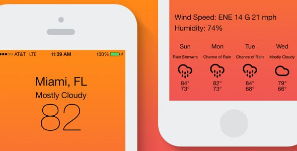Weather 7   http://codecanyon.net/item/weather-7/6095453?ref=damiamio       Weather 7 is a elegant solution to obtaining weather information via the [WeatherUnderground API]( .wunderground /weather/api/). You can build off our already included full Xcode project or simply add to your existing project. Fahrenheit and celsius temperatures are auto calculated based on the users locale so there is no need for complicated calculations. We have included all the code to get current the conditions…