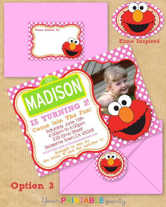 Girls Elmo Party Invitation 5x7 With Address By Yourprintableparty