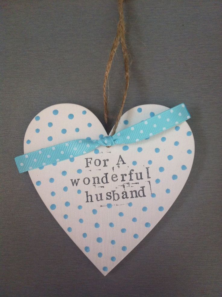 Hanging decorated wooden heart. Husband gift.